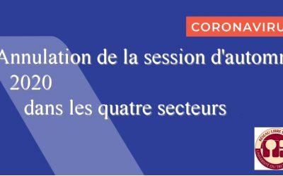Annulation de la session d'automne 2020