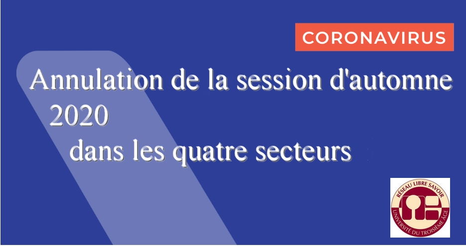 Annulation de la session d'automne 2020